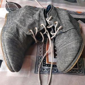 Wedge platforms heeled laced booties jean denim